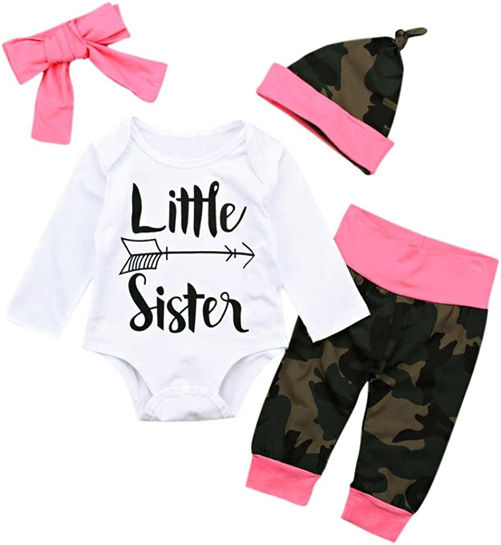 KaloryWee Baby Rompers Outfits Newborn Clothes Infant Boys Girls Little Brother/&Sister Series Letter Romper Jumpsuit Camouflage/&Deer Pants Set