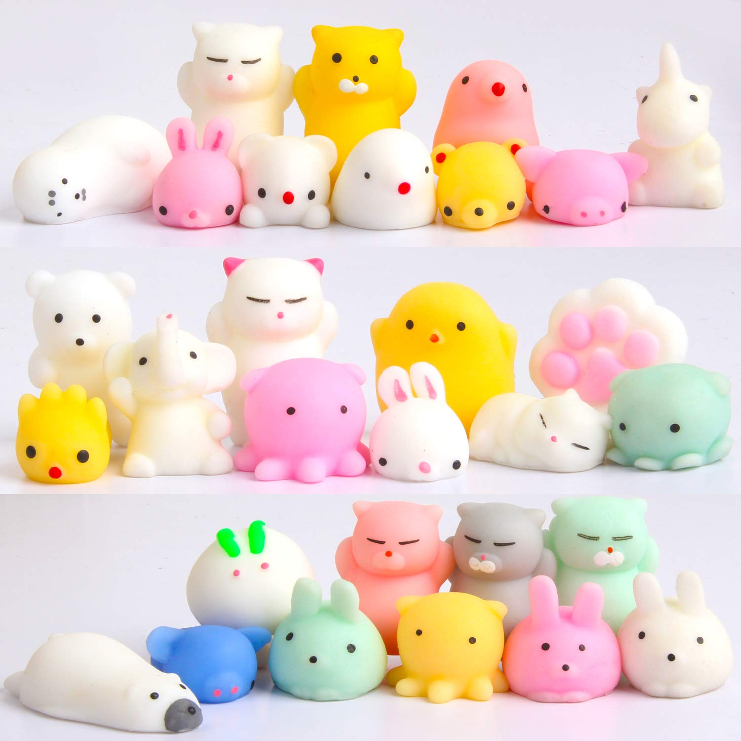 Squishy Toy Mini Mochi Squishies - Party Favors 30 Pack Kawaii Animals Cute Unicorn Cat Soft Squeeze Stress Relief Toys for Kid Adults