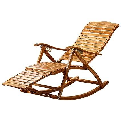 Silla Plegable de bambú reclinable Mecedora Silla Perezosa ...