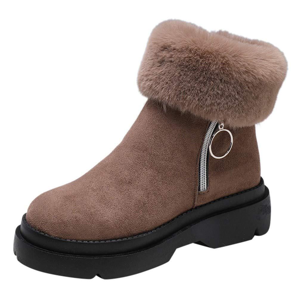 Robemon♚Femme Chic Hiver Plat Bottes de Neige Faible Daim Chaud Peluche Bord Zip Boots Sole É paisse Cheville Chaussures