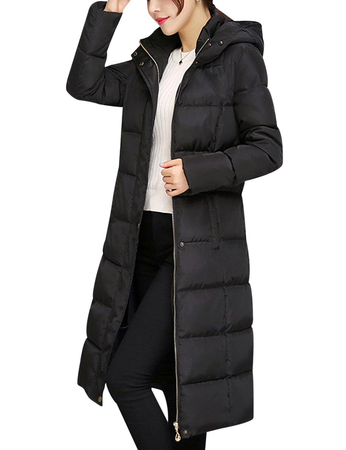 Tanming Women's Winter Cotton Padded Long Coat Outerwear With Fur Trim Hood (Large, Black) by Tanming (Image #4)