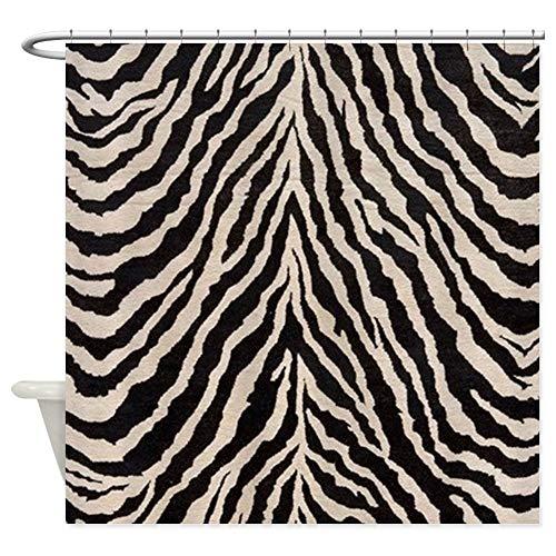 CafePress Zebra Print Brown Beige Tan Decorative Fabric Shower Curtain (69
