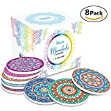 Coaster for Drinks by Teivio - Absorbing Stone Coasters with Cork Base, Stone Coasters set Suitable for Kinds of Mugs and Cups, Set of 8
