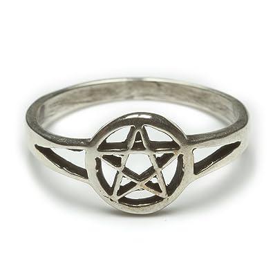 fréquent classcic double coupon Pentagramme Anneau Bague en Argent en argent 925 bijoux ...