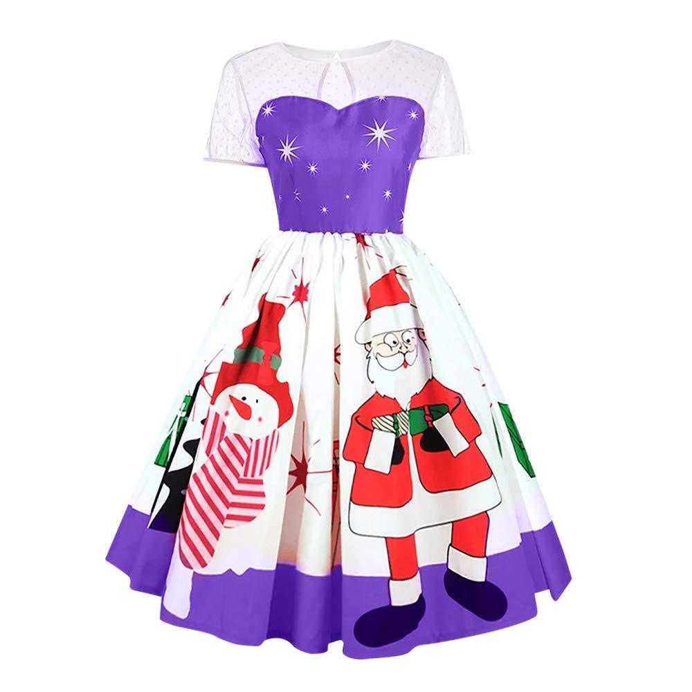 kaifongfu Women Merry Christmas Vintage Claus Print Lace Dress for Evening Party(Purple,XL