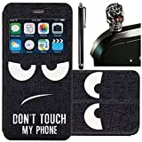Vandot 3 Set Window View Smart Black PU Leather Case Cover Book Style for Samsung Galaxy Grand Prime G5308W G530FZ G530 with Credit Card Holder + Bling Metal Stylus Pen - Do not touch my phone