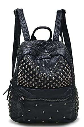 Amazon.com | Sannea Womens Studded Black Leather Backpack Casual ...