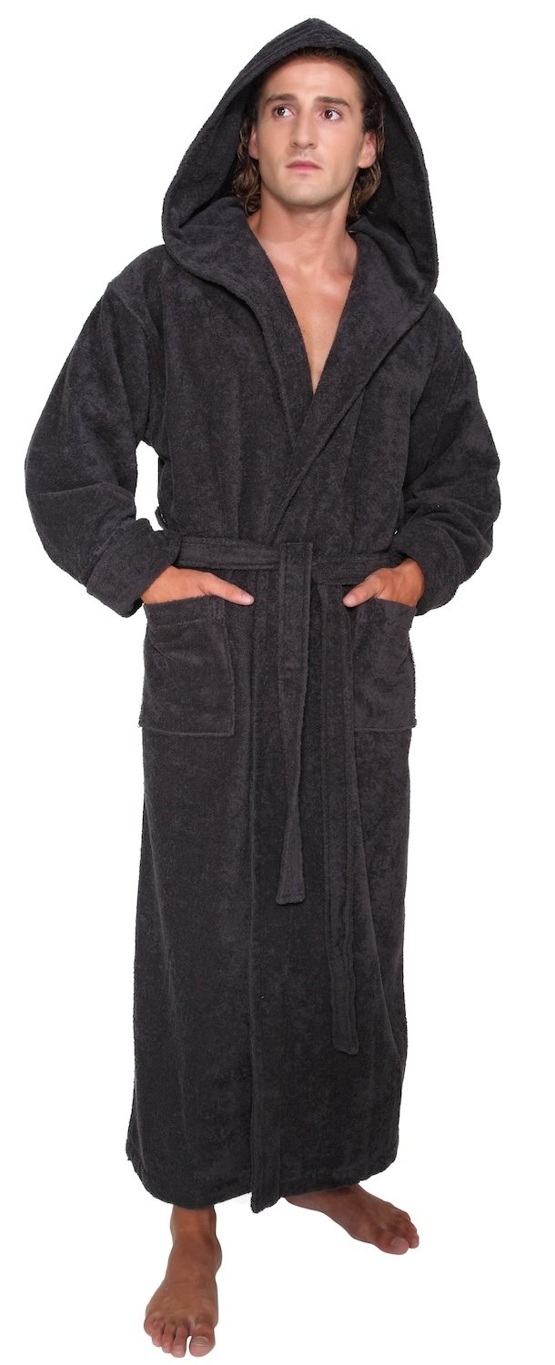 Arus Men's Hood'n Full Ankle Length Hooded Turkish Cotton Bathrobe XXL Black