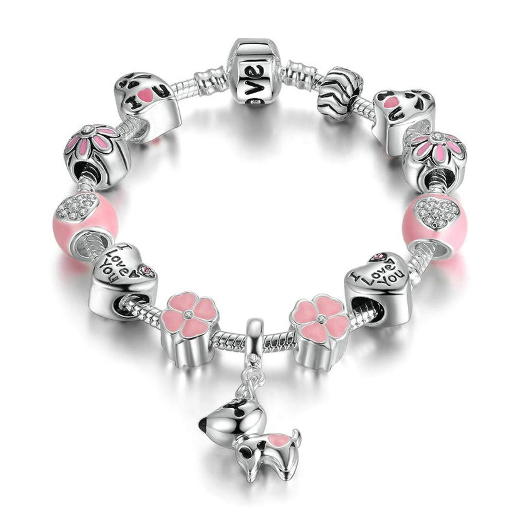 MIADEAL Lucky Charm Bracelet, Love and Clover Silver Plated Lucky Dog Charm Bracelet for Daughter Gift