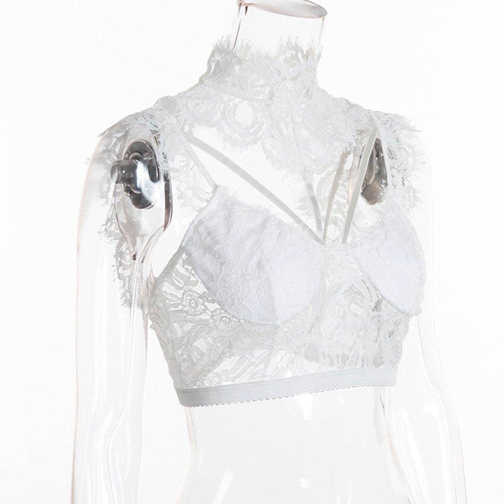 Women Tank Tops Sleeveless Lace Splice V-Neck Bra Vest T-Shirt Crop Blouse (L, White) by Yihaojia Women Blouse (Image #6)