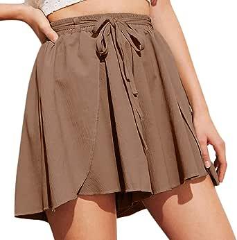 cinnamou Pantalones Mujer, Pantalones Cortos Anchos Casual Vendaje ...