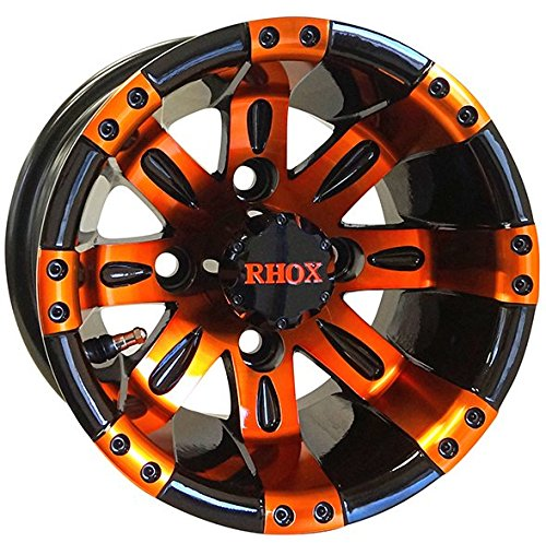 10'' VEGAS Golf Cart Wheels and 205/50-10 DOT Low Profile Golf Cart Tires Combo - Set of 4 (CHOOSE YOUR COLOR!) (Orange/Black) by Golf Cart Tire Supply (Image #1)