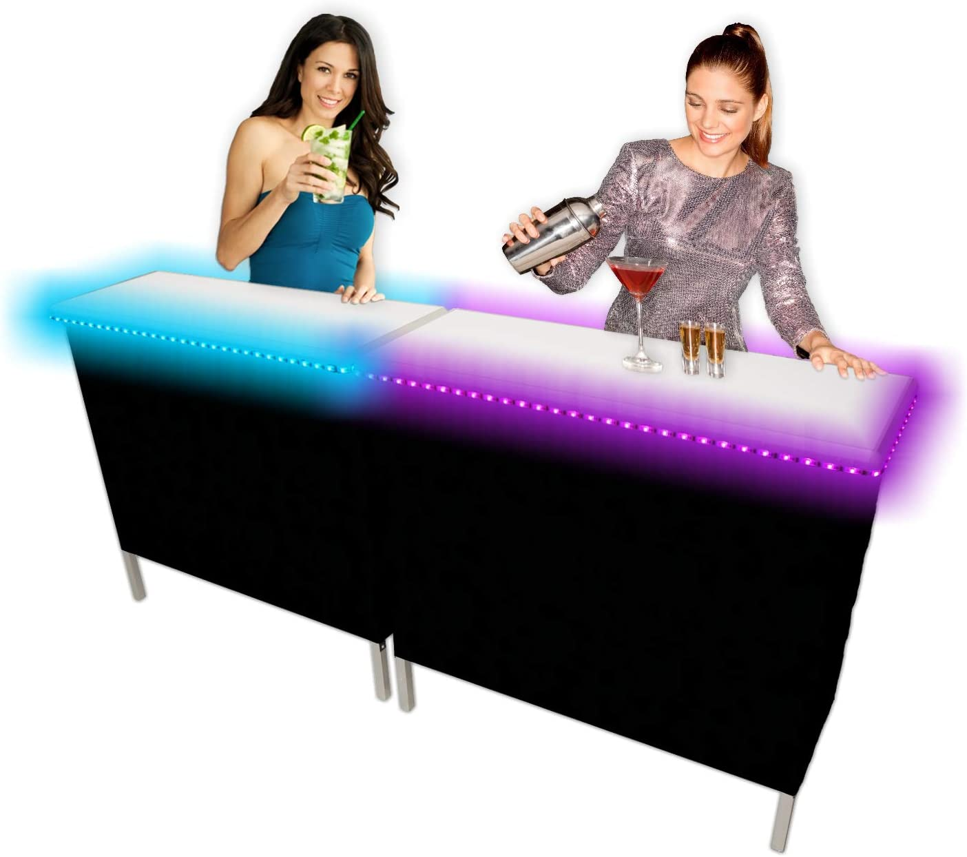 PartyPongTables.com Set Portable Black & Hawaiian Skirts, 39 inches, Party Bar w/LED Lights - Double