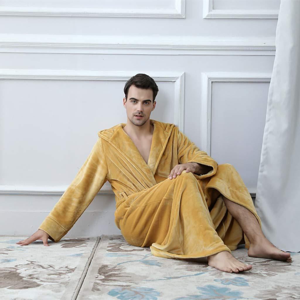 Winter Warm Pajamas Shower Nightgown Bathrobe for Couples Floor Length Bathrobe with Hood Kidirt Hooded Sleepwear with Pockets Thicken Warm Coral Fleece Robe