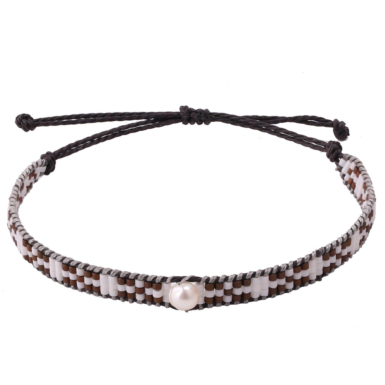 KELITCH Pearl Sead Beaded Wax rope Charm Wrap Bracelets Handmade Friendship New Women Jewelry (Grey)