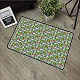 LOVEEO Entrance Doormat,Kids Car Race Track Roadway Activity Suburb View with Houses Gardens and Trees Cartoon,Easy Clean Rugs,35'x47' Multicolor