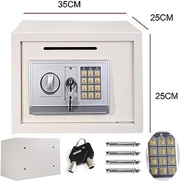 Caja de Seguridad electrónica para Guardar Dinero en Efectivo, Protege Documentos del hogar, joyería de Dinero, 16 l de Espacio Grande (35 x 25 x 25 cm), Color Blanco: Amazon.es: Bricolaje y herramientas