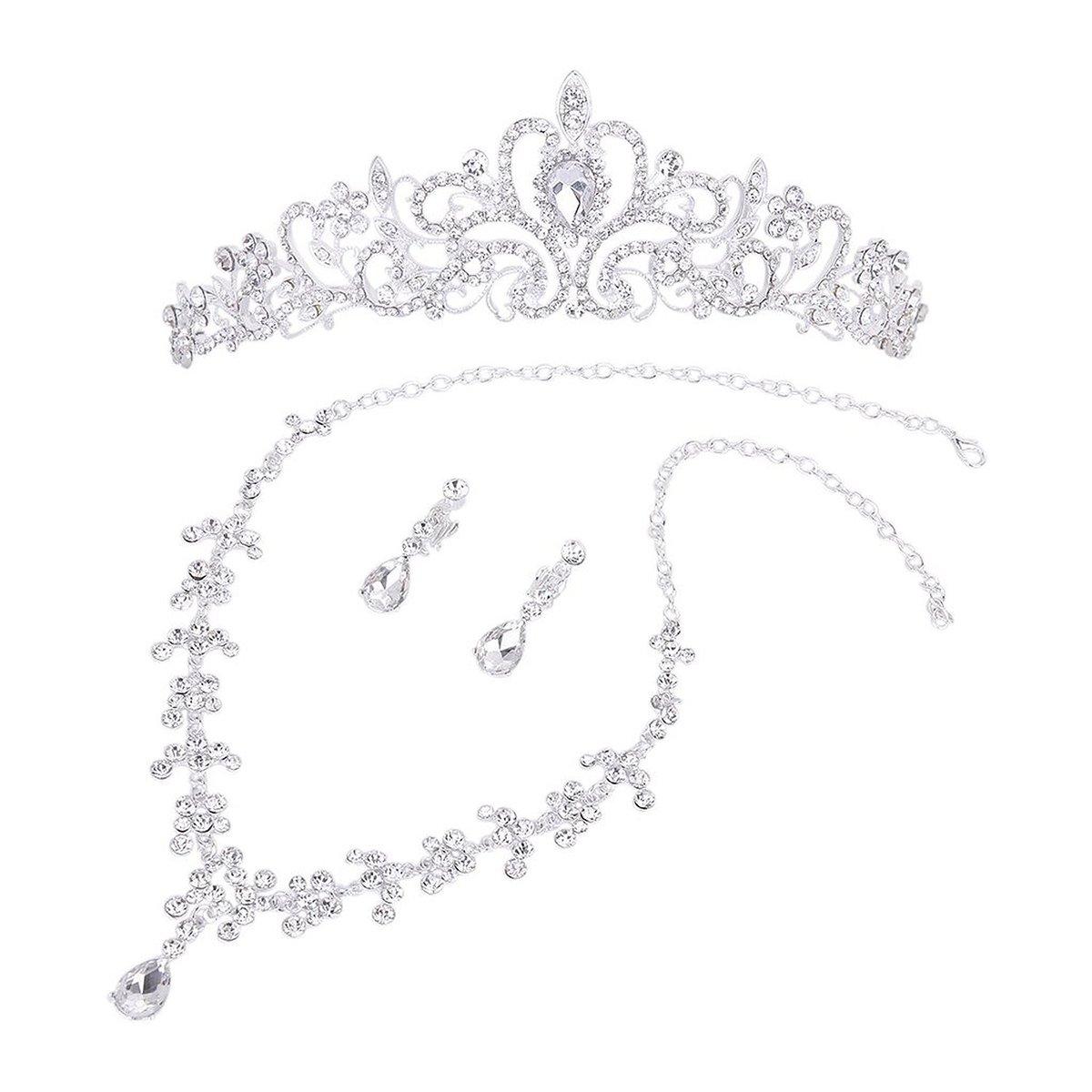 WINOMO Bridal Wedding Jewelry Set Rhinestone Tiara Necklace Earrings