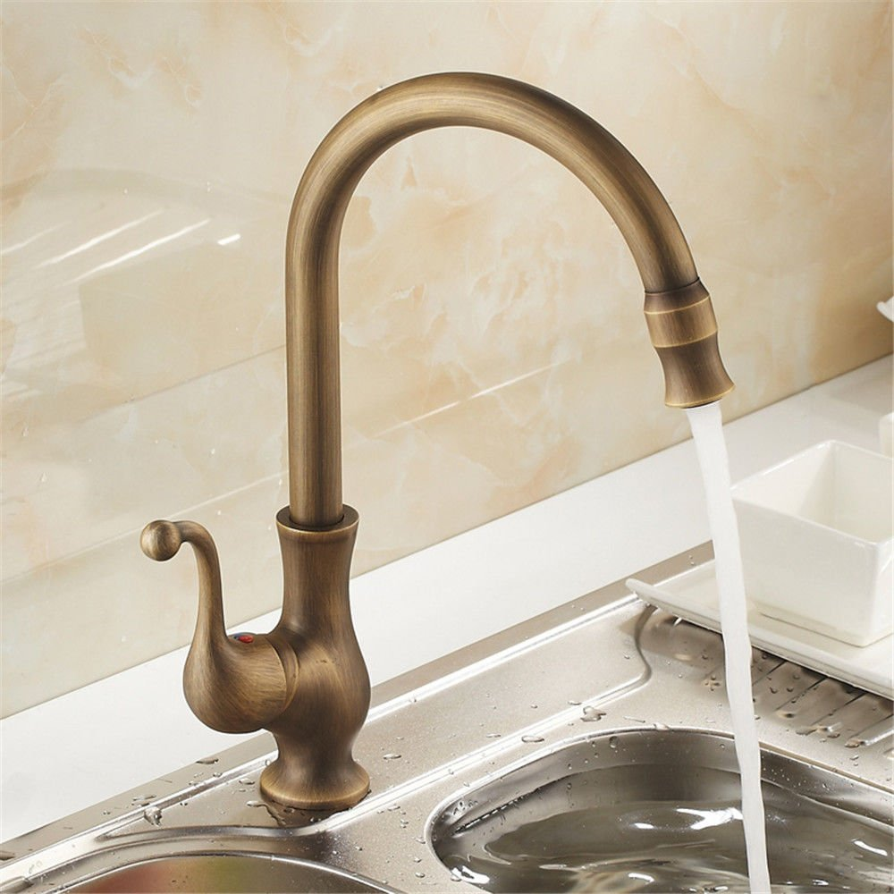 Lalaky Taps Faucet Kitchen Mixer Sink Waterfall Bathroom Mixer Basin Mixer Tap for Kitchen Bathroom and Washroom Antique Hot and Cold Retro Can Be redated