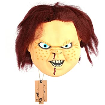 2pcs/set Funny Latex Mascara De Chucky Mask Ghost Baby Mask for Halloween Party Decor Props