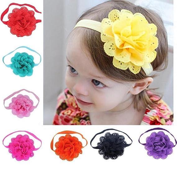 Amazon Com Yamally 8pcs Baby Nylon Flower Headbands Hairbands Hair