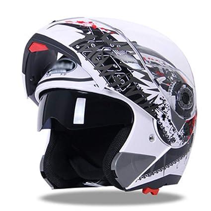 WWUX Cascos Cascos Integrales De La Motocicleta Cascos Abatibles Casco Antiniebla De Moto De Doble Lente
