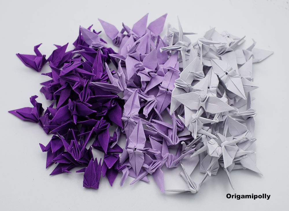 decorate 100 Origami paper cranes 1.5 Dark Purple Origami Cranes paper Crane for Wedding Gift backdrop wedding