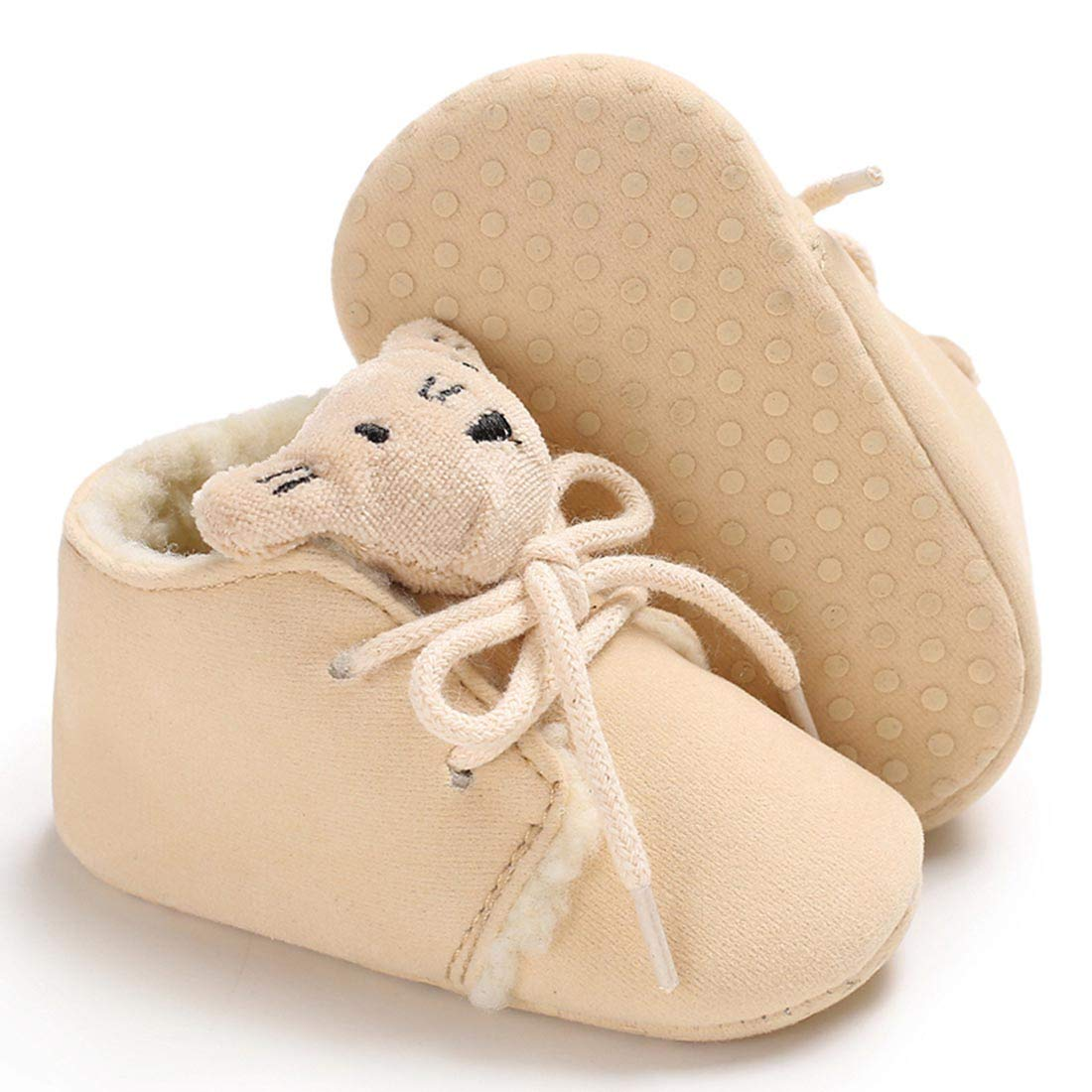 Infant Fuax Fleece Lace Up Snow Boots First Walker Shoes for Girls Boys YIBLBOX Newborn Baby Booties