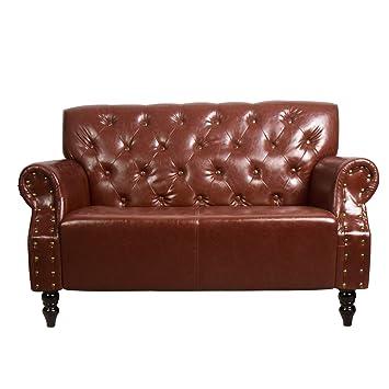 Amazon.de: CCLIFE Chesterfield Sessel Sofa Braun 2 Sitzer Antik ...