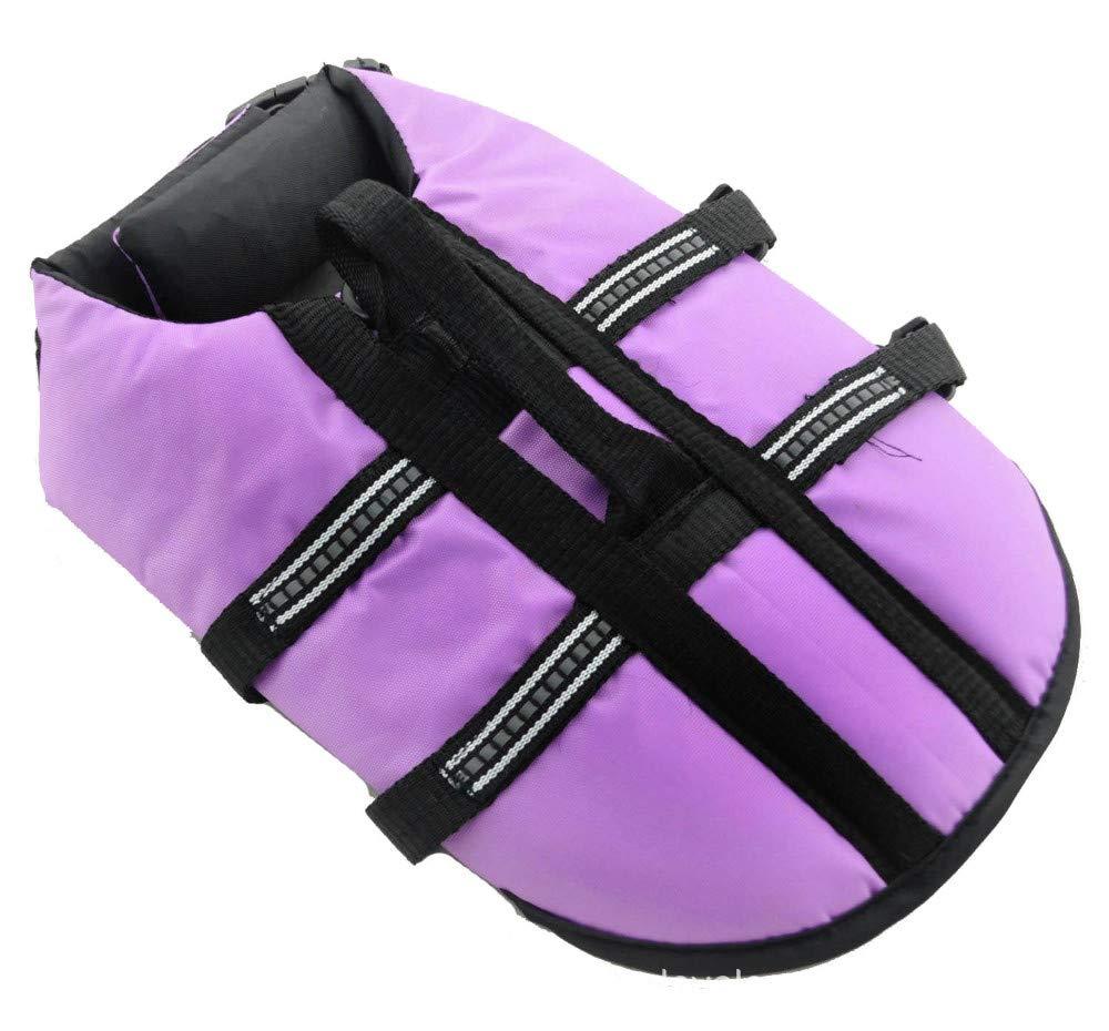 L-XL Gulunmun Dog Life Jacket Pet Floatation Vest, Dogs Swimming Vest, Pet Life Saver Safety Swimsuit Preserver for Pool, Beach, Boating Purple,L-XL