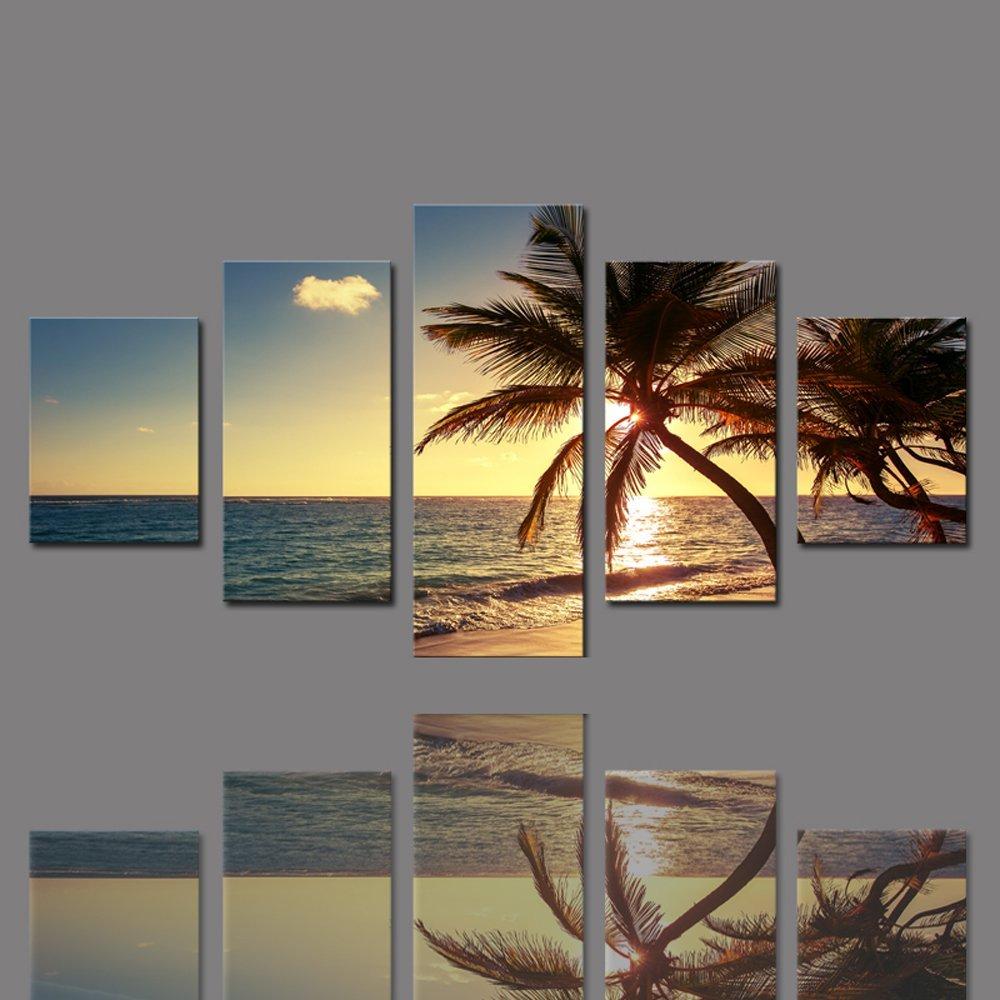 Amazon com cao gen decor art as42724 5 panel framed wall art coconut tree canvas print posters prints