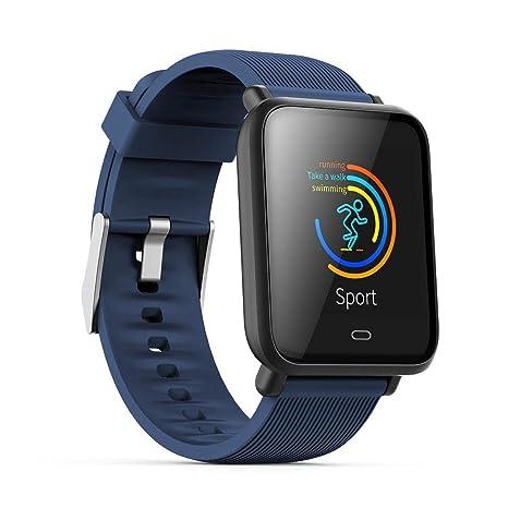 Monitor de frecuencia cardíaca TEEPAO, reloj inteligente a prueba de agua con monitor de presión arterial, contador de pasos, reloj inteligente de ...
