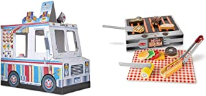 Melissa & Doug Food Truck Indoor Playhouse,Multicolored & Grill & Serve BBQ Set