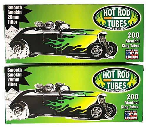 Tobacco Rolling Menthol (Hot Rod Cigarette Tubes King Menthol. 2-Pack- 400 tubes total)
