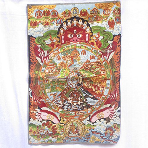EASTCODE Collectible Traditional Tibetan Buddhism in Nepal Thangka of Buddha paintings,Big size Buddhism silk brocade painting ()