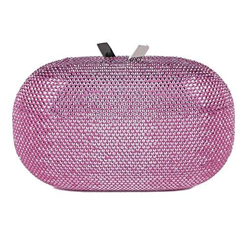 Bolsa de embrague, Ilda Rosa de tela con piedras