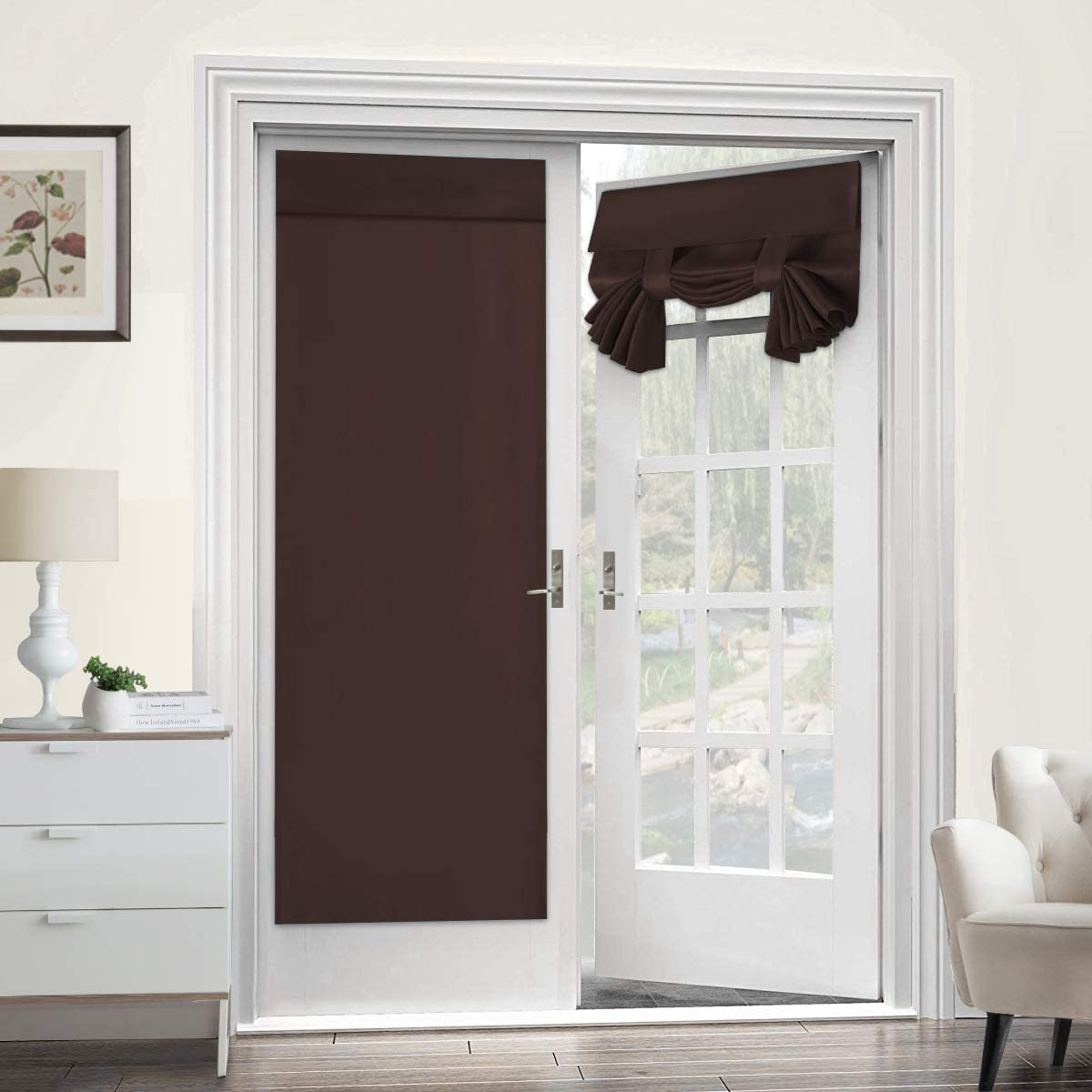 Blackout Curtain for French Doors - Thermal Insulated Blackout Glass Door Curtain Panel Tricia Curtain for Door Window Curtains, 2 Panel, 26 x 68 Inches, Brown
