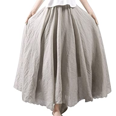 355fd80a3 Image Unavailable. Image not available for. Color: Aurorao Women Linen  Cotton Long Skirts Elastic Waist Pleated Maxi ...