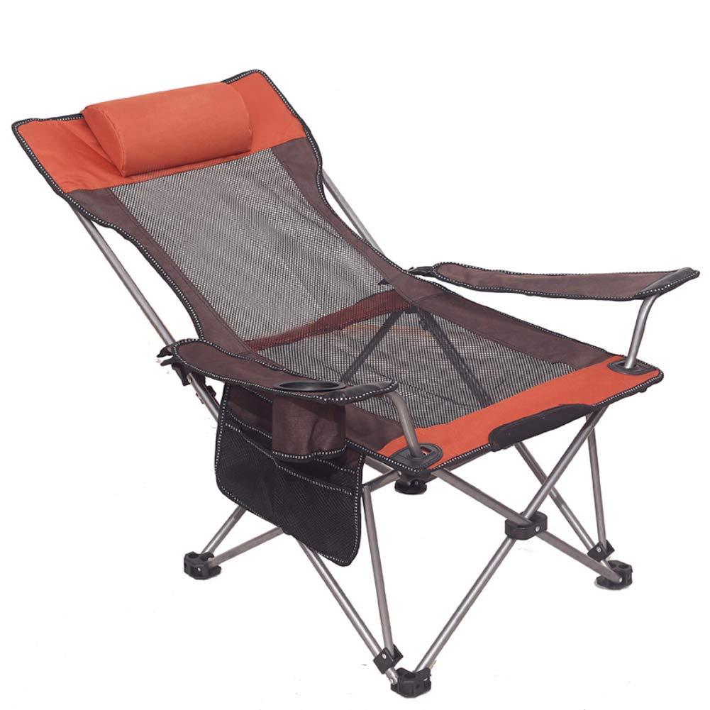 DTTN Sedia da Campeggio Portatile, Esterna Poggiatesta Ultraleggero Sedia in Alluminio Beach Garden Balcone Picnic Barbecue con Tazza Titolare-C