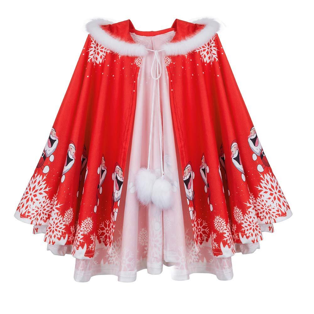 FORESTIME Baby Boys Girls Christmas Cloak- Xmas Snow Wool Hooded SnowflakeSnowflakeHair Ball Santa Coat (RED, 7-10 Years)