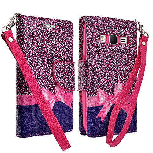 Samsung Galaxy Grand Prime LTE G530H Case, Hot Pink Cheetah Magnetic Wallet Pouch with Built In Kickstand For Samsung Galaxy Grand Prime LTE G530H Case (Cricket/MetroPcs/TMobile/Sprint)
