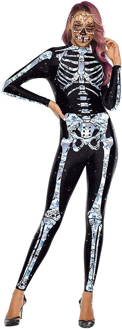 Disfraz Esqueleto Mujer Traje para Disfraces de Terror Skeleton Estampado Payaso Calavera Monos para Halloween Carnaval