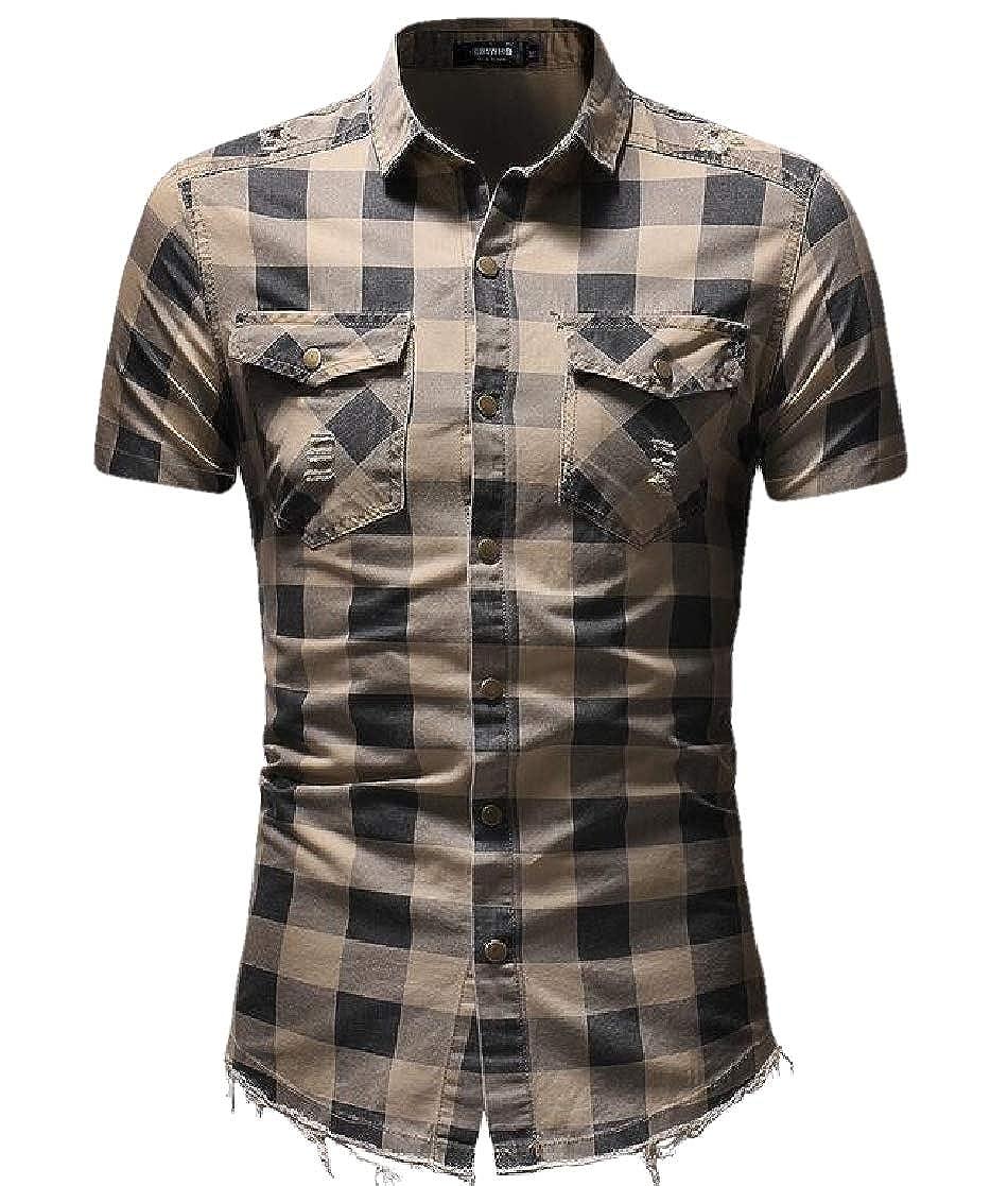 Domple Men Denim Stylish Chest Pocket Hole Plaid Short Sleeve Shirts