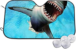 CAMERONLITTLE Leaping Great White Shark Fashion Windshield Sunshade Sun Shadow Umbrella GM SUV Truck Protection Inside - Keep Your Car Cool M