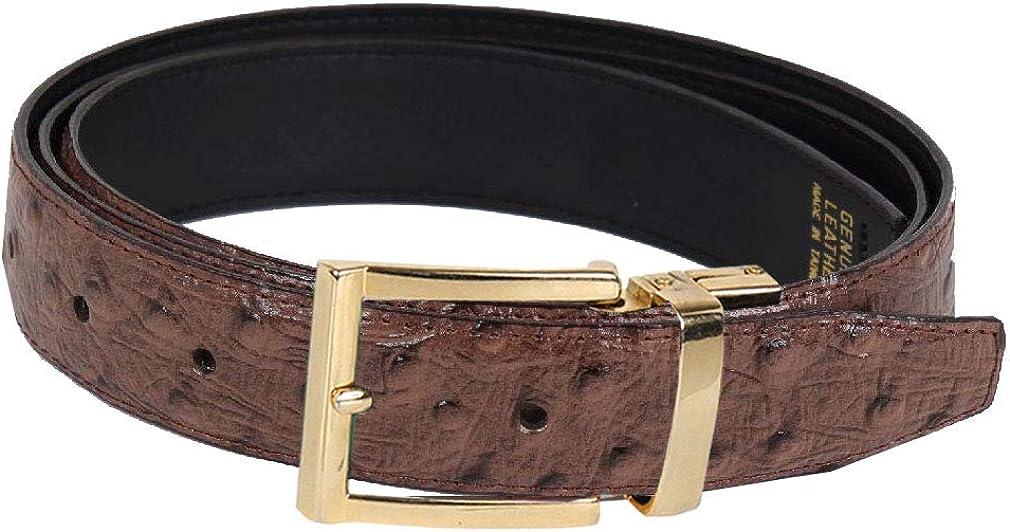 Ostrich Skin Leather Belt Wine