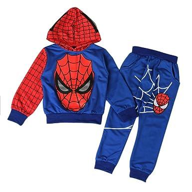 d74badc828bff iikids Habillement Lot de 2 pcs Sweat + Pantalon Costume de Spiderman  enfants Combinaison pull ...