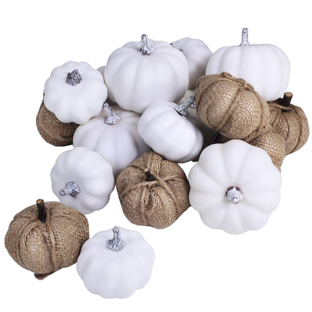 Artificial White Pumpkins and Burlap Pumpkins Assorted Faux Harvest Pumpkins for Fall Wedding Thanksgiving Halloween Seasonal Holiday Tabletop Decoration Centerpiece 18 Pcs