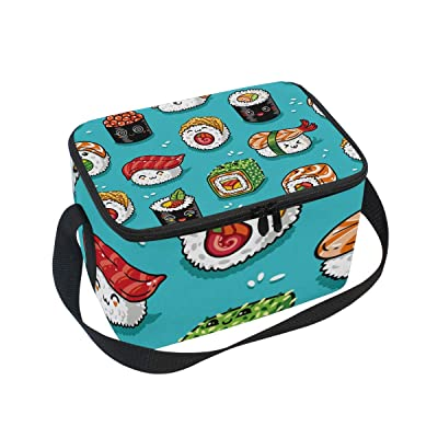 Cute Japanese Sushi Large Capacity Insulated Lunch Tote Bag Portable Travel Picnic School Handbag Cooler Warm Lunchbox for Kids Chrildren Girls Boys Women: Kitchen & Dining