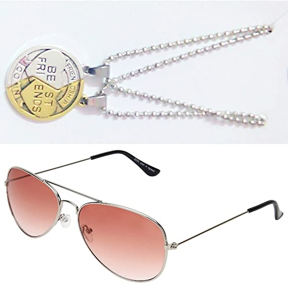 69e835d1cd8 Sheomy Combo Of Friendship Coin Best Friends Pendant And Silver Orange Aviator  Sunglasses Best Online Gifts  Amazon.in  Clothing   Accessories