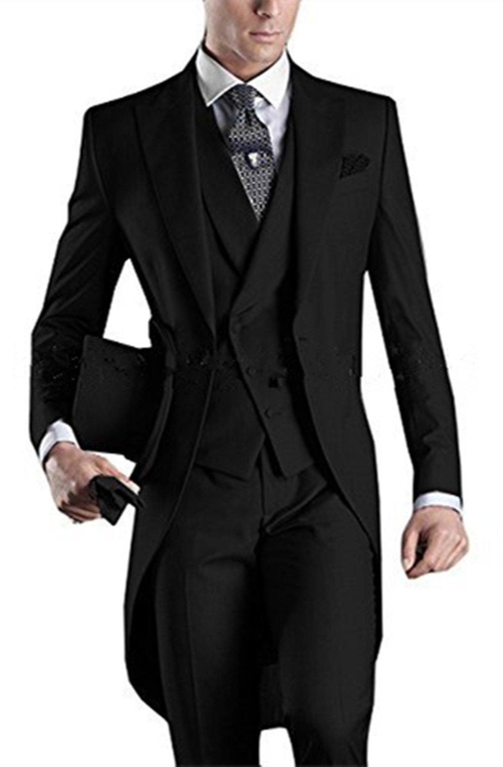 Everbeauty Men's Handsome 3 Pieces Tailcoat Suit Set Business Suit for Men 2018